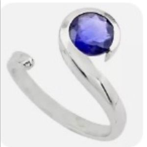 Ring Genuine Blue Lolite 925 silver Authentic